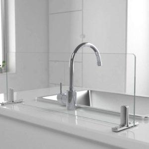 キッチン油はねガード(強化ガラスセット) 水はね防止 W600×H200mm 自立型