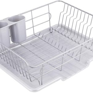 パール金属 食器 水切り かご 水が流れる トレー付 タテ置き タイプ グレー アルデオ HB-4066