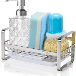 HULISEN キッチン スポンジ置き ステンレス キッチンスポンジホルダー 洗剤 スポンジ ラック 水受けトレーを取外し可能 (スポンジホルダー)